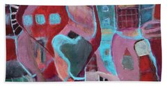 Bath Towel featuring the painting Holiday Windows by Susan Stone