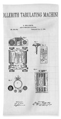 Hollerith Tabulating Machine Patent - First Computer 1889 Bath Towel