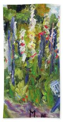 Bath Towel featuring the painting Hollyhocks, After Morisot by Michael Helfen