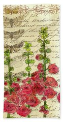 Hand Towel featuring the drawing Hollyhocks And Butterflies  by Cathie Richardson