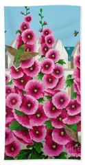 Hollyhocks And Humming Birds Hand Towel