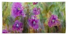 Hollyhocks Hand Towel by Vicki  Housel