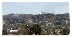 Hollywood Hills From Sunset Blvd Hand Towel