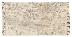 Hollywood Map To The Stars 1937 Hand Towel by Don Boggs