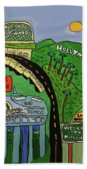 Bath Towel featuring the painting Hollywood Watertower by Artists With Autism Inc