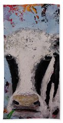 Bath Towel featuring the painting Holstein Cow Painting Farm House Wall Art Cow Art by Gray Artus