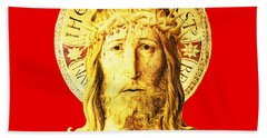 Holy Face Hand Towel by Asok Mukhopadhyay