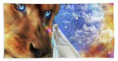 Hand Towel featuring the digital art  Divine Perspective by Dolores Develde