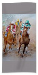 Bath Towel featuring the painting Home Stretch by Marilyn Zalatan