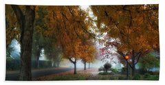 Hometown Fall Morning Hand Towel by Lynn Hopwood