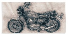 Honda Cb750 - Superbike - 1969 - Motorcycle Poster - Automotive Art Bath Towel