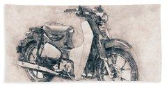 Honda Super Cub - Motor Scooters - 1958 - Motorcycle Poster - Automotive Art Bath Towel