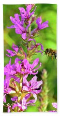Honey Bee In Flight Hand Towel