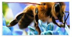 Honey Bee In Interior Design Thick Paint Hand Towel