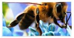 Honey Bee In Interior Design Thick Paint Bath Towel