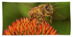 Honey Bee On Flower Two Bath Towel by Randy Steele