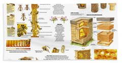 Honey Bees Infographic Bath Towel