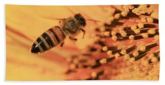 Bath Towel featuring the photograph Honeybee And Sunflower by Chris Berry