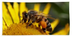Hand Towel featuring the photograph Honeybee At Work by Rona Black