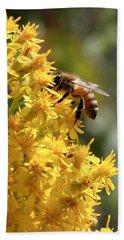 Honeybee On Showy Goldenrod Bath Towel