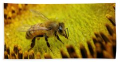Bath Towel featuring the photograph Honeybee On Sunflower by Chris Berry