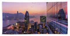Hong Kong Aerial By Night Bath Towel