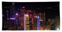 Hong Kong At Night Bath Towel