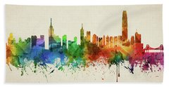 Hong Kong Skyline Chhk05 Hand Towel by Aged Pixel