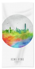 Hong Kong Skyline Chhk20 Hand Towel by Aged Pixel