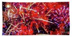 Bath Towel featuring the photograph Honolulu Fireworks by D Davila