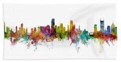 Honolulu, Miami And Nashville Skylines Mashup Bath Towel