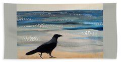 Hooded Crow At The Black Sea By Dora Hathazi Mendes Hand Towel