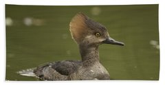 Hooded Merganser Hand Towel by Doug Herr