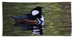 Hooded Merganser Duck Hand Towel by Keith Boone