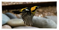 Hand Towel featuring the photograph Hooded Oriole H37 by Mark Myhaver