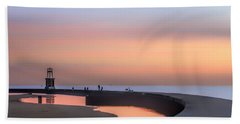 Hook Pier Lighthouse - Chicago Hand Towel by Nikolyn McDonald