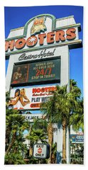 Bath Towel featuring the photograph Hooters Casino Sign by Aloha Art