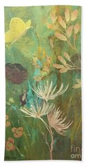Hand Towel featuring the painting Hopeful Golden Wings by Robin Maria Pedrero