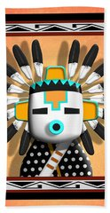 Hand Towel featuring the digital art Hopi Kachina Mask by John Wills