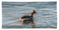 Horned Grebe Swimming In The Chesapeake Bay Hand Towel