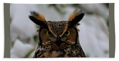 Horned Owl Bath Towel