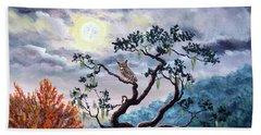 Horned Owl On Moonlit Oak Tree Hand Towel