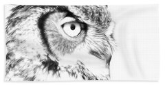 Horned Owl Pen And Ink Bath Towel