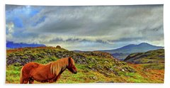 Bath Towel featuring the photograph Horse And Mountains by Scott Mahon