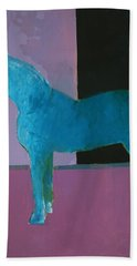 Horse, Blue On Lavender Hand Towel