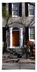 Horse Carriage In Charleston Bath Towel by Susanne Van Hulst