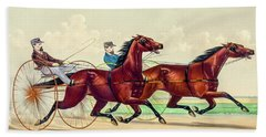 Horse Carriage Race Bath Towel