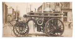 Horse Drawn Fire Engine 1910 Bath Towel by Virginia Coyle