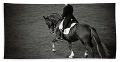 Horse Dressage - Black And White Hand Towel