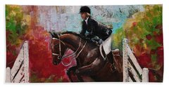 Show Jumper Equestrian Horse Wall Art  Hand Towel by Gray Artus
